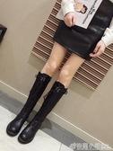 靴子女韓版小個子復古網紅騎士靴百搭粗跟長靴 格蘭小舖