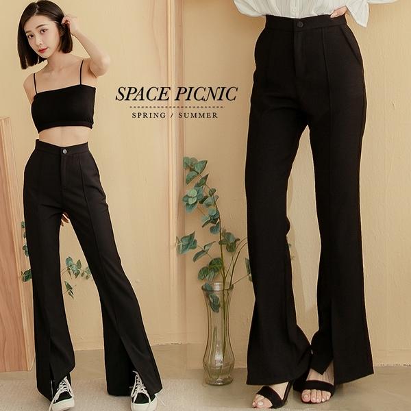喇叭褲 Space Picnic 黑釦前開衩西裝喇叭褲(現貨)【C21011050】