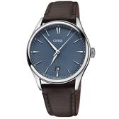 Oris 豪利時 Artelier 日期機械錶-藍x咖啡/40mm 0173377214055-0752131FC