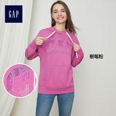 Gap女裝 Logo時尚連帽長袖套頭休閒上衣 396141-樹莓粉