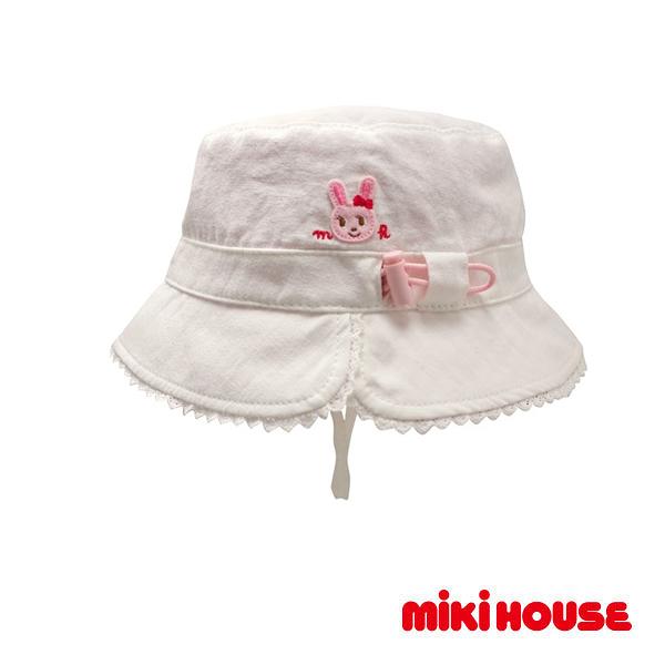 MIKI HOUSE 抗UV舞颯兔雙面遮陽帽(白)