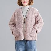 秋冬外套 外套文藝長袖外套 秋冬新款V領羊羔絨單排扣百搭