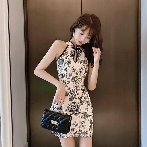 2020年新款夏改良版少女年輕款短款開叉旗袍性感青花瓷修身連身裙 【ifashion·全店免運】