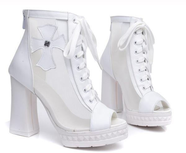 卡樂color...真皮粗跟後拉鍊魚嘴女短靴繫帶高跟女鞋 2色 白色 35-40 #hn3116