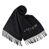 美國正品 COACH 雙面用羊毛流蘇圍巾-黑/灰【現貨】