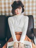 毛衣秋季打底針織衫修身顯瘦半高領木耳邊韓版上衣長袖薄款早秋毛衣女 99免運 萌萌