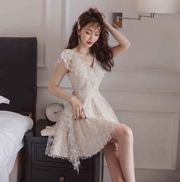 洋裝V領裙子S-XL新款氣質egg法式桔梗初戀裙a字連身裙T235-2291.一號公館