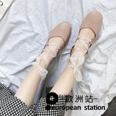 豆豆鞋/涼鞋女鞋淺口平底鞋方頭鞋粗跟單鞋「歐洲站」