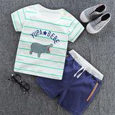 現貨 夏季童裝2短袖短褲0兩件套嬰兒短袖卡通T袖1寶寶短袖套裝(0-2歲)  短袖套裝
