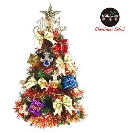 【南紡購物中心】【摩達客】台灣製2尺60cm經典綠聖誕樹+彩寶石禮物盒系裝飾