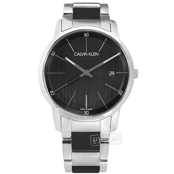 CK / K2G2G1B1 / 極簡風格 都會時尚 日期 瑞士製造 矽膠 不鏽鋼手錶 銀黑色 43mm