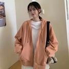 連帽衛衣運動衫女裝外套春秋季薄款2021新款寬鬆韓版小個子設計感糖果色潮ins開衫棉罩衫