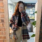 成熟女裝氣質秋季正韓寬鬆顯瘦百搭中長款格子長袖襯衫外套潮