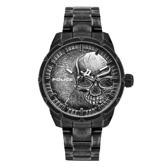 POLICE 浴血骷髏時尚腕錶-黑x灰