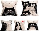 Gspirit【日本代購】時尚北歐 靠墊套 枕套 棉麻制 抱枕套4件套 - 貓咪