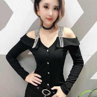 滿千免運~長袖T恤~1155-1長袖女上衣原創設計百搭重工藝打底衫H480莎菲娜