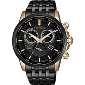 CITIZEN 星辰 光動能萬年曆手錶-黑x玫瑰金/42mm BL8156-80E