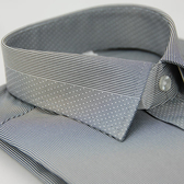 【金‧安德森】灰色變化領點點窄版長袖襯衫