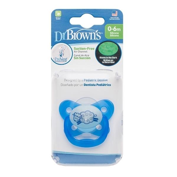 美國Dr Brown 布朗博士PreVent功能性夜光安撫奶嘴 藍2入0~6個月(附收納盒)
