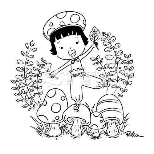 【貝登堡】手作 卡片 楓木印章 木頭印章 木頭章 梅子女孩的秋日慶典 GT-5294