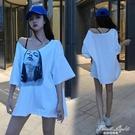 2021新款漏肩一字肩性感短袖t恤女夏寬鬆中長款大碼露肩心機上衣 果果輕時尚