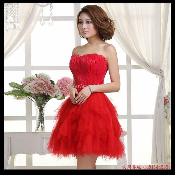 (45 Design定做款)  客製化7天到貨  小禮服婚慶宴會晚會伴娘團新娘晚裝小短裙紅色改良