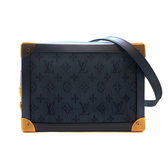 【台中米蘭站】全新品 Louis Vuitton SOFT TRUNK系列 單寧布軟箱包斜背包(M44723-海軍藍)