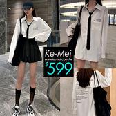 克妹Ke-Mei【ZT53604】Young年輕感學院風領帶襯杉+百摺裙套裝