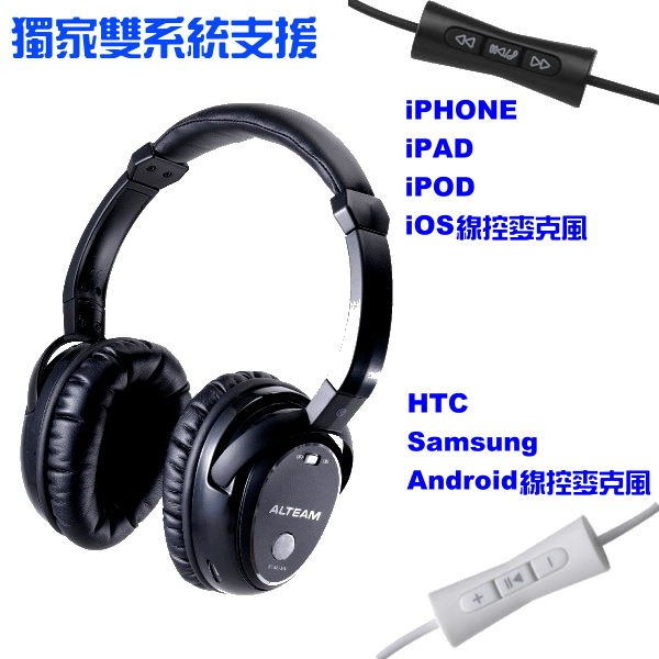 ALTEAM 亞立田 ANP-777 主動抗噪折疊耳罩式耳機 3D立體音效 支援iPhone5 HTC Butterfly 線控耳機麥克風