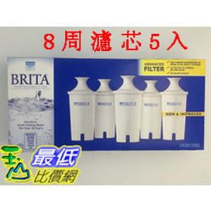 [促銷到8月30 圓形8周濾芯] Brita 濾水壺濾心/濾芯 (5入) (和舊款相容可過濾151公升)