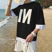 夏季港風印花假兩件短袖t恤男加大碼五分袖上衣半袖潮男裝七分袖  野外之家