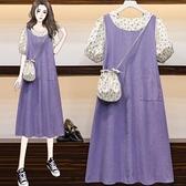 洋裝短袖連身裙中大尺碼XL-5XL新品胖MM泡泡袖兩件碎花小清新長裙送包包四色R28A-2030.皇潮天下