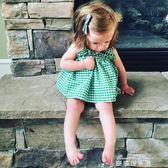 0-1-2周歲半女寶寶夏裝嬰兒裙子夏季純棉套裝5個月女童吊帶洋裝   麥琪精品屋