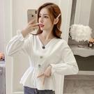 限時特價 襯衫女設計感小眾早秋季新款韓版寬松洋氣V領荷葉邊收腰上衣