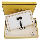 ■現貨在台■專櫃75折■全新真品Fendi 8M0299 鉚釘KARL 搖滾卡爾拉鍊封口皮夾/長夾/錢包