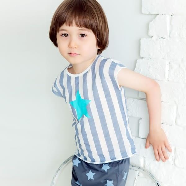 Korea Imports 正韓  星星直條短袖上衣 / 星星短褲 2件組 Variety Star Loungewear Grey