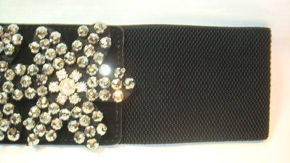 女腰帶   寬版伸縮雪花環扣 ( 黑 )