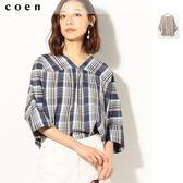 格紋 V領 7分袖上衣 女T恤 現貨 免運費 日本品牌【coen】