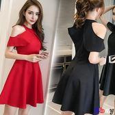 [貝貝居] 裝韓版裙子時尚名媛氣質露肩短款收腰小禮服連身裙女