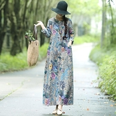春秋裝新款復古民族風大碼寬鬆棉麻印花長袖洋裝女文藝亞麻長裙 【雙十一】