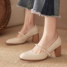 粗跟鞋 單鞋女2021新款粗跟百搭復古方頭法式小高跟鞋中跟白色瑪麗珍女鞋