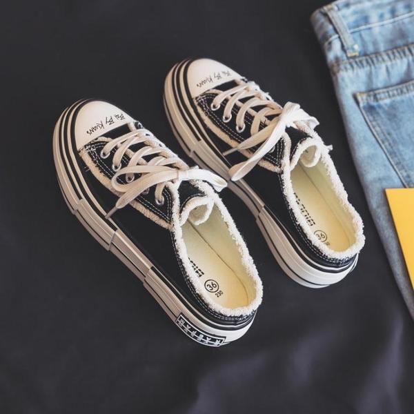 半拖鞋 2021年夏季新款半拖厚底無后跟帆布鞋一腳蹬懶人鞋小白鞋女乞丐鞋 小天使