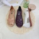 魚口鞋 魚嘴鞋女媽媽鞋涼鞋夏季新款舒適軟底平底中老年大碼閏月女鞋-Ballet朵朵