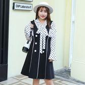中大尺碼~甜美撞色長袖連衣裙(XL~4XL)
