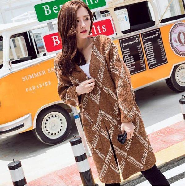 最新 秋冬女裝 綠色黃色中長版款菱格紋寬松毛衣外套【D1】