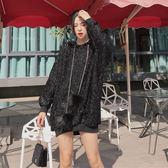帽T-新款韓版寬鬆顯瘦百搭時尚亮絲毛球連帽加厚中長款套頭衛衣女