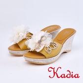 kadia.華麗精緻蝴蝶楔型涼拖鞋(9115-20棕色)