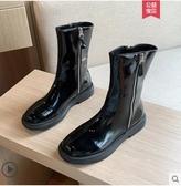 騎士靴子女秋冬2021年新款馬丁短靴中筒漆皮百搭春秋炸街瘦瘦單靴 8號店