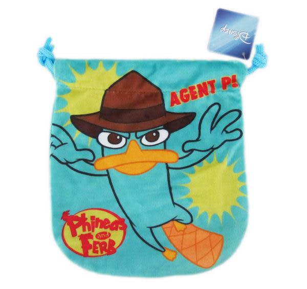 【卡漫城】迪士尼 泰瑞 束口袋 ㊣版 Phineas and Ferb 鴨嘴獸 相機包 零錢包 收納袋