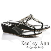 ★零碼出清★Keeley Ann低調閃耀~水鑽羽毛桂冠造型楔形T字夾腳涼鞋(黑色)